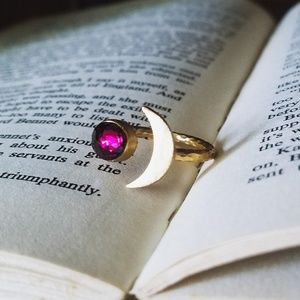 "Uniquely Handcrafted Jewelry - Astral Airing""- 2 ct Garnet Half Moon Ring"